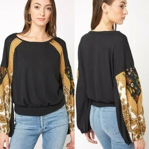 Free People Casual Clash Top Boho Blouse
